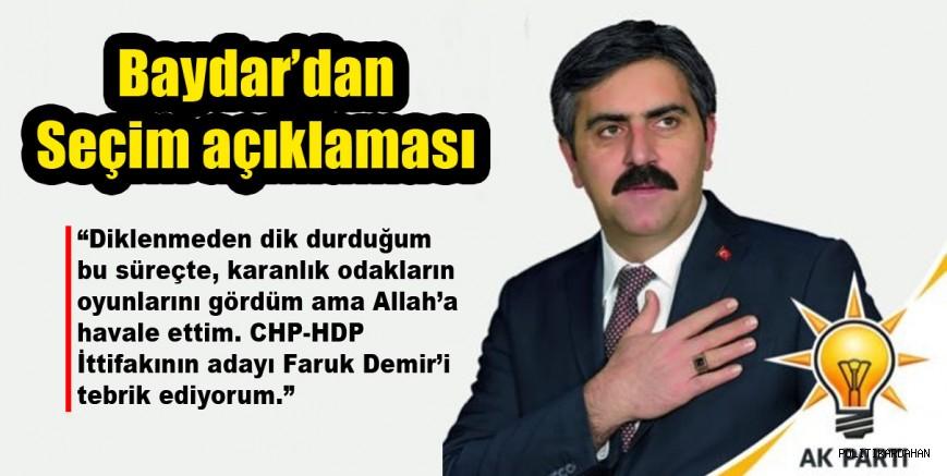 """Baydar'dan seçim açıklaması: """"CHP-HDP ittifakının adayı Faruk Demir'i tebrik ederim"""""""