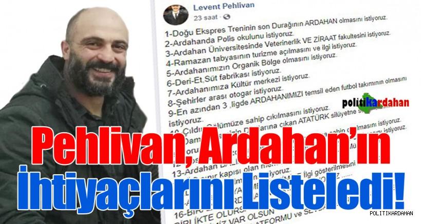 Pehlivan, Ardahan'ın ihtiyaçlarını listeledi!